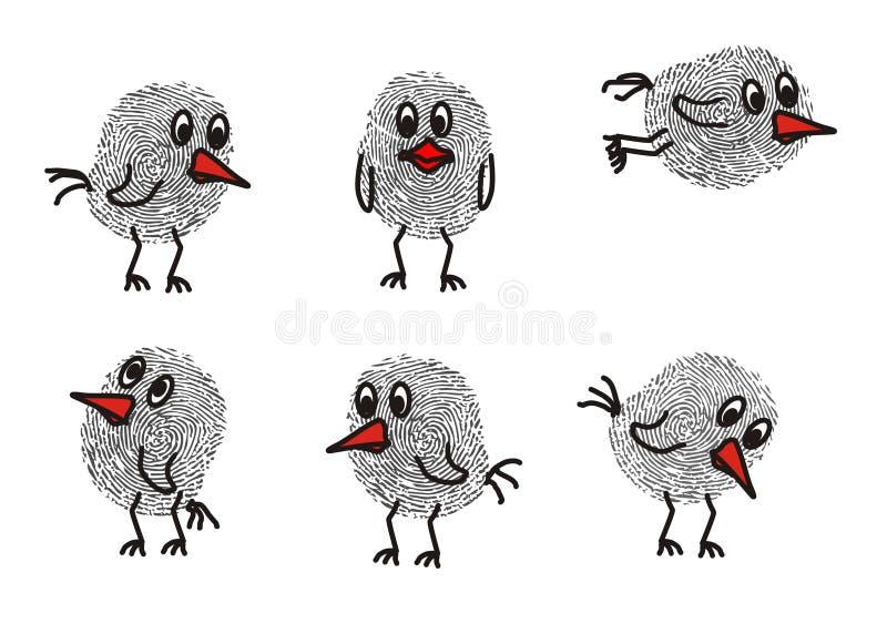 Funny birds. Funny drawn birds with a fingerprint vector illustration