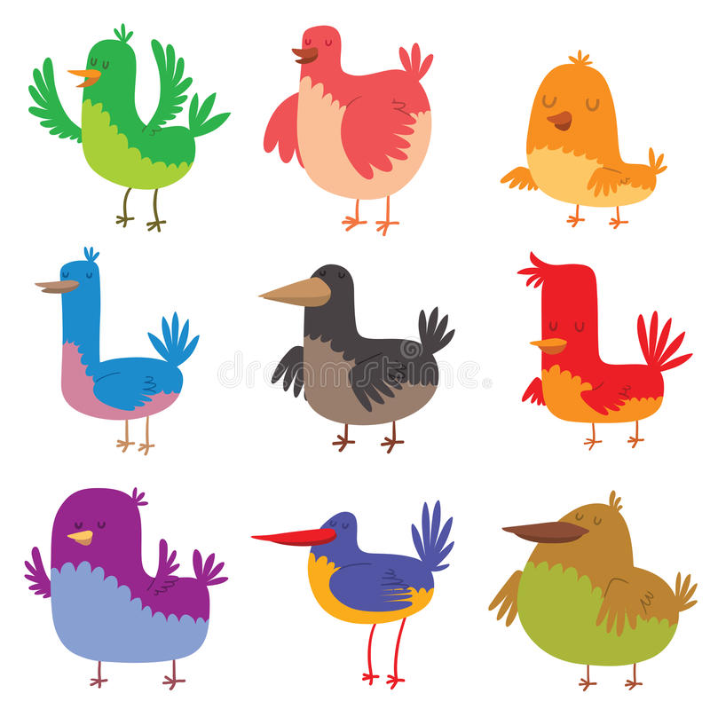 Funny birds doodle cartoon collection wing animal character vector illustration. royalty free illustration