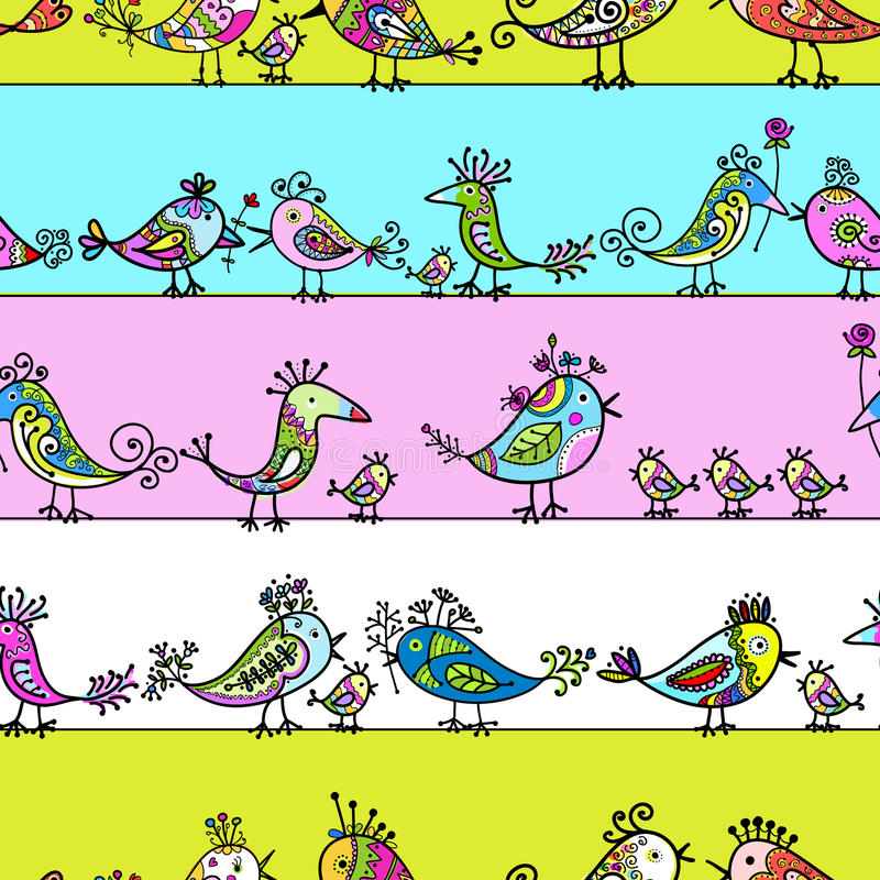 Download Funny Birds, Seamless Pattern For Your Design Stock Vector - Image: 28737330