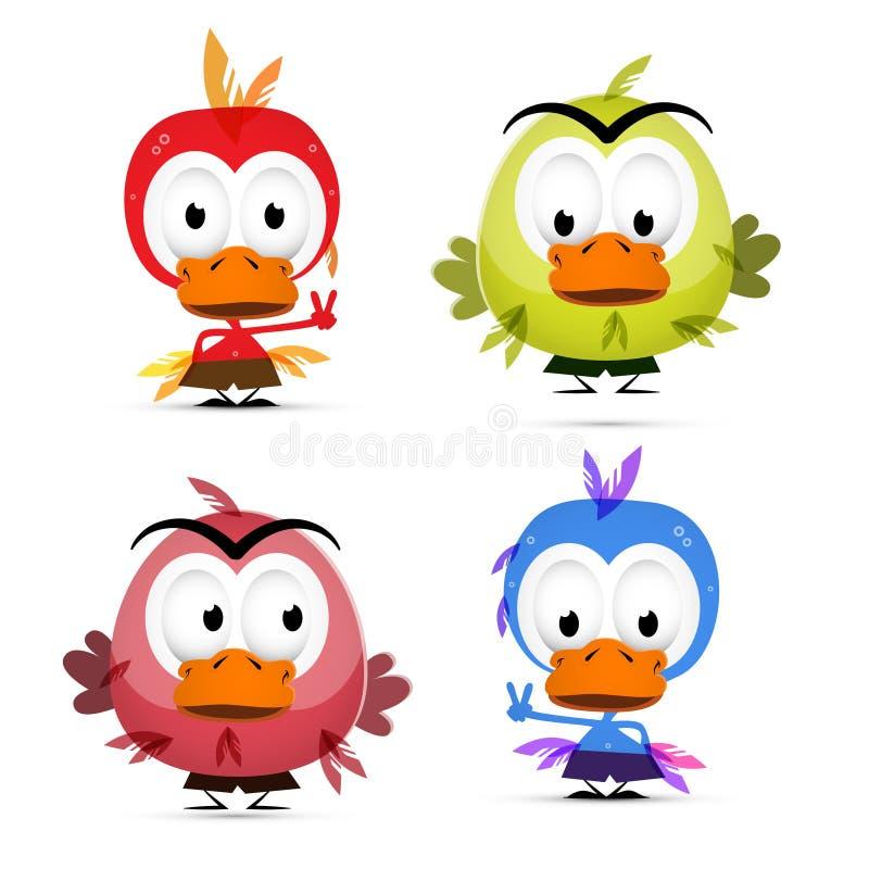 Funny Birds Set stock illustration