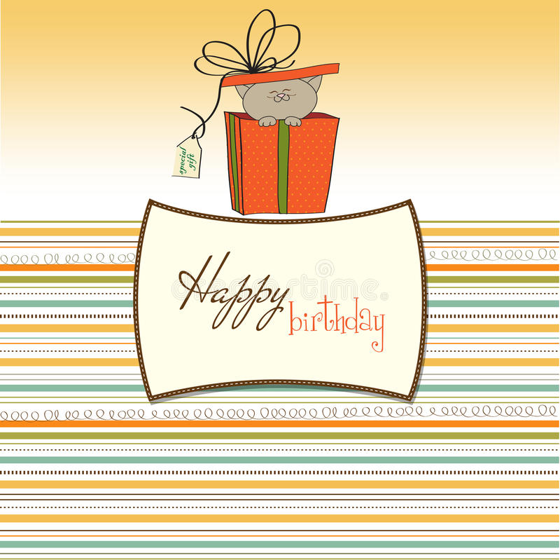 Download Funny Birthday Card With Little Cat Stock Images - Image: 22350434