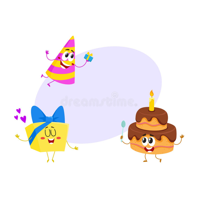 Funny birthday characters - hat, cake, gift box, smiling human faces stock illustration
