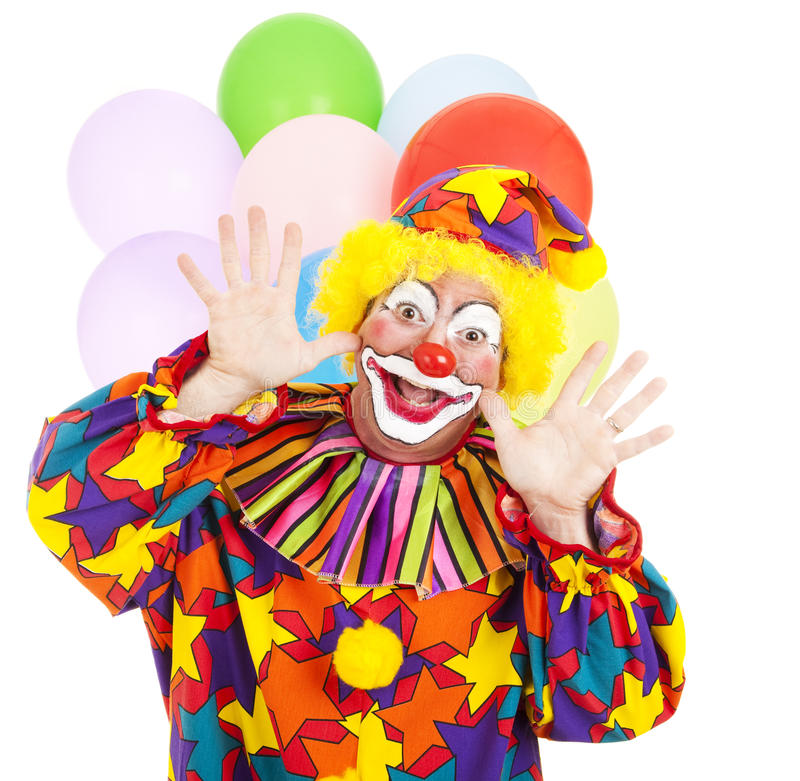 Funny Birthday Clown. With balloons over white background stock images