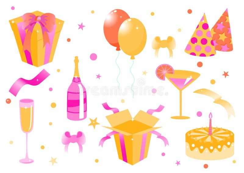 Funny Birthday Icons Royalty Free Stock Image