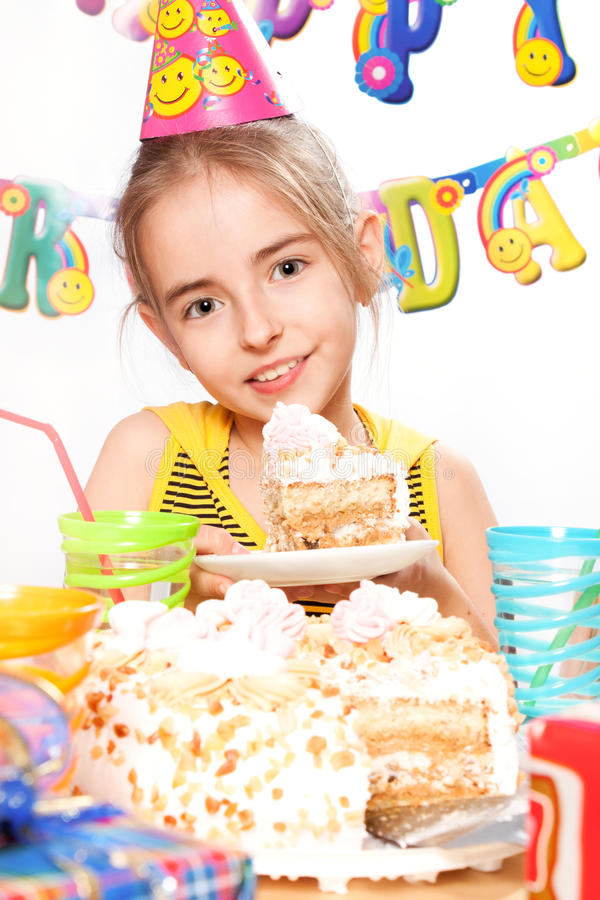 Funny birthday party. With piece of cake royalty free stock photo