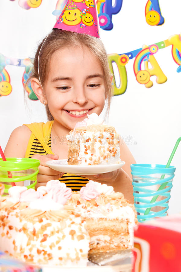 Funny birthday party. And cake stock photo
