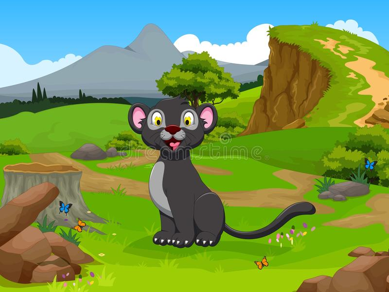 Funny black panther cartoon in the jungle with landscape background stock illustration