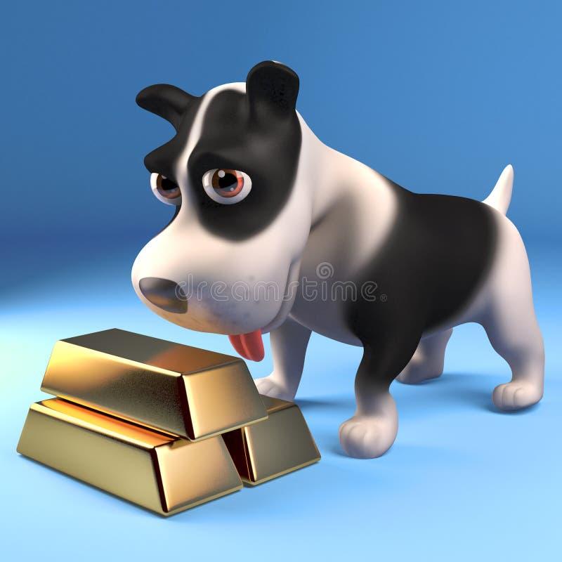 Funny black and white puppy dog looks at his stash of gold bullion bars, 3d illustration. Render stock illustration