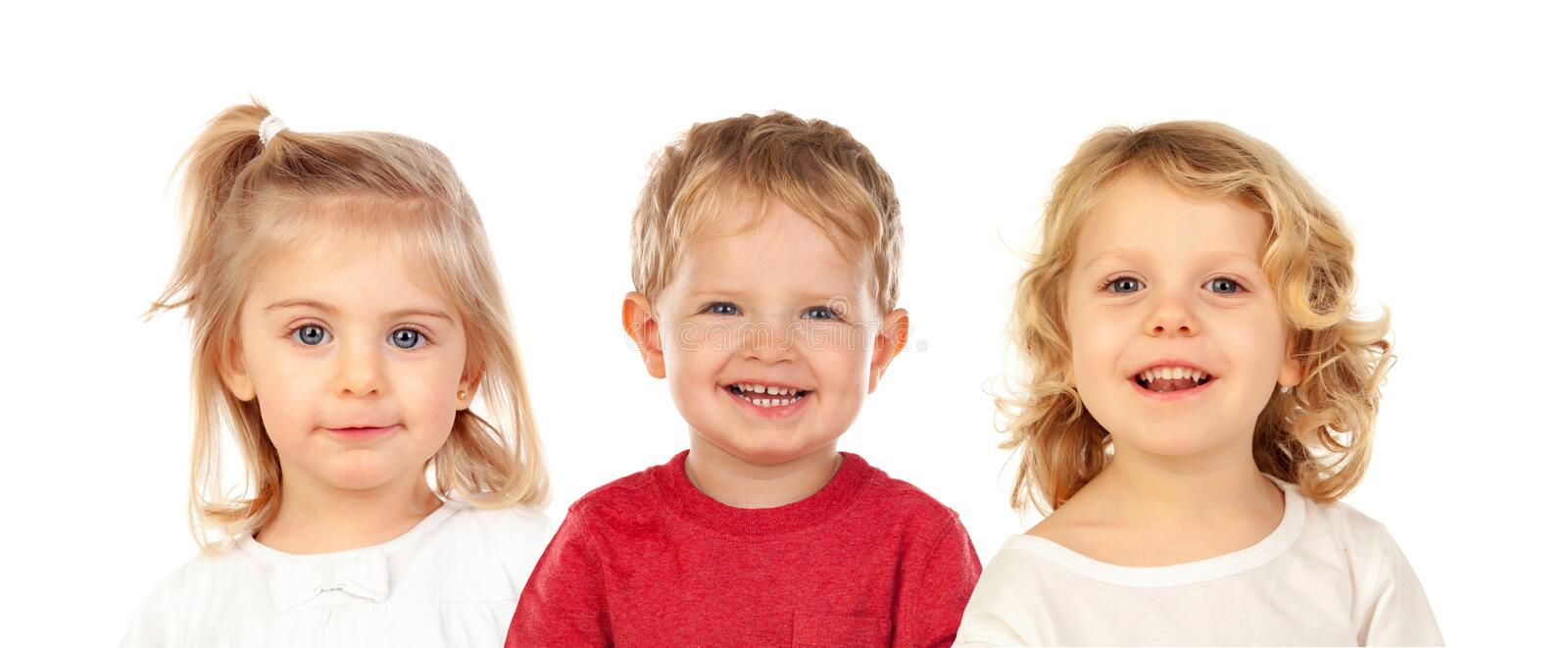 Funny blond brothers royalty free stock photos