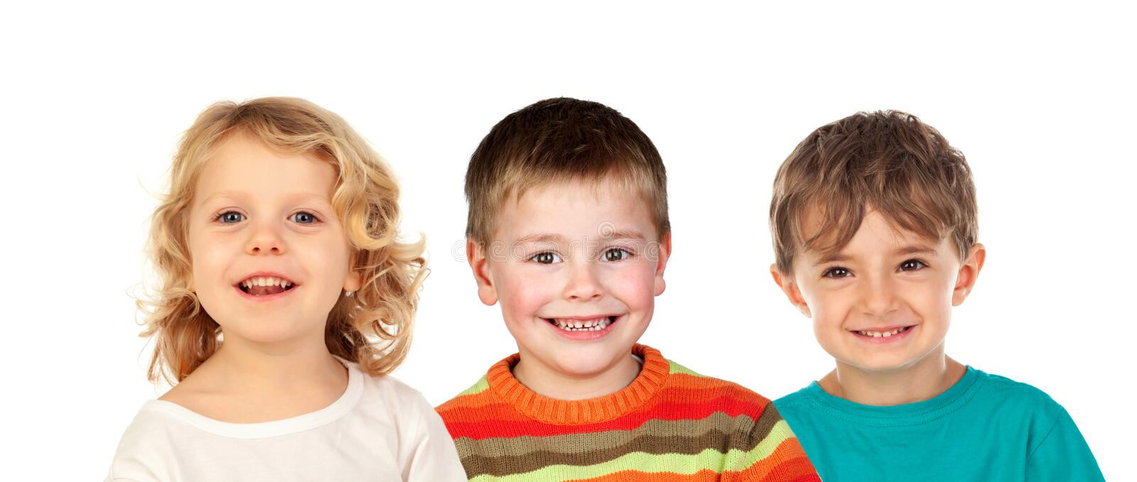 Funny blond brothers royalty free stock image