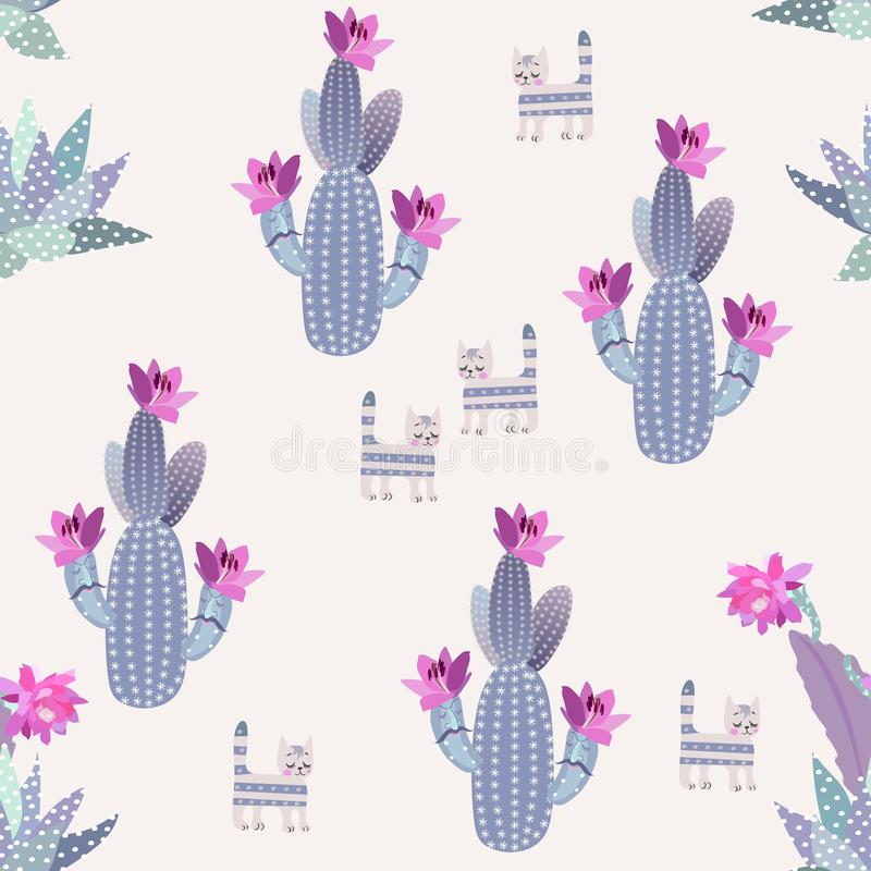 Funny blooming cacti with cartoon faces, succulents and dreamy cats isolated on light background in vector. Seamless pattern royalty free illustration