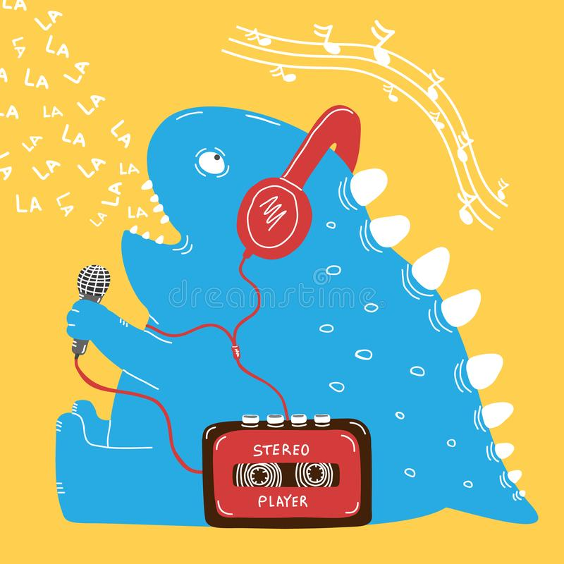 Funny blue dinosaur sits and sings into microphone royalty free stock photos