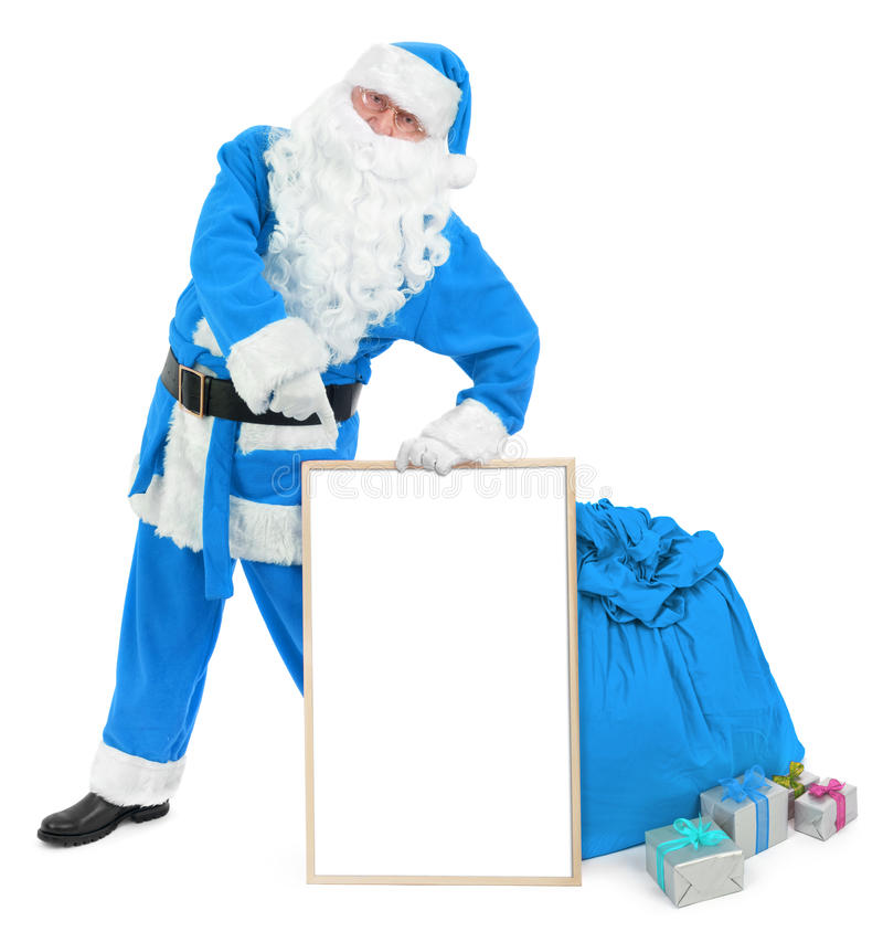 Funny blue Santa with empty white board stock images