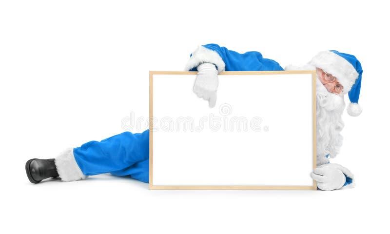 Download Funny Blue Santa And Empty White Board Stock Photo - Image: 35225544