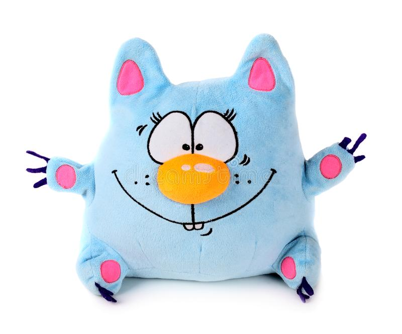 Blue toy cat. Funny blue toy cat isolated on white background royalty free stock photo