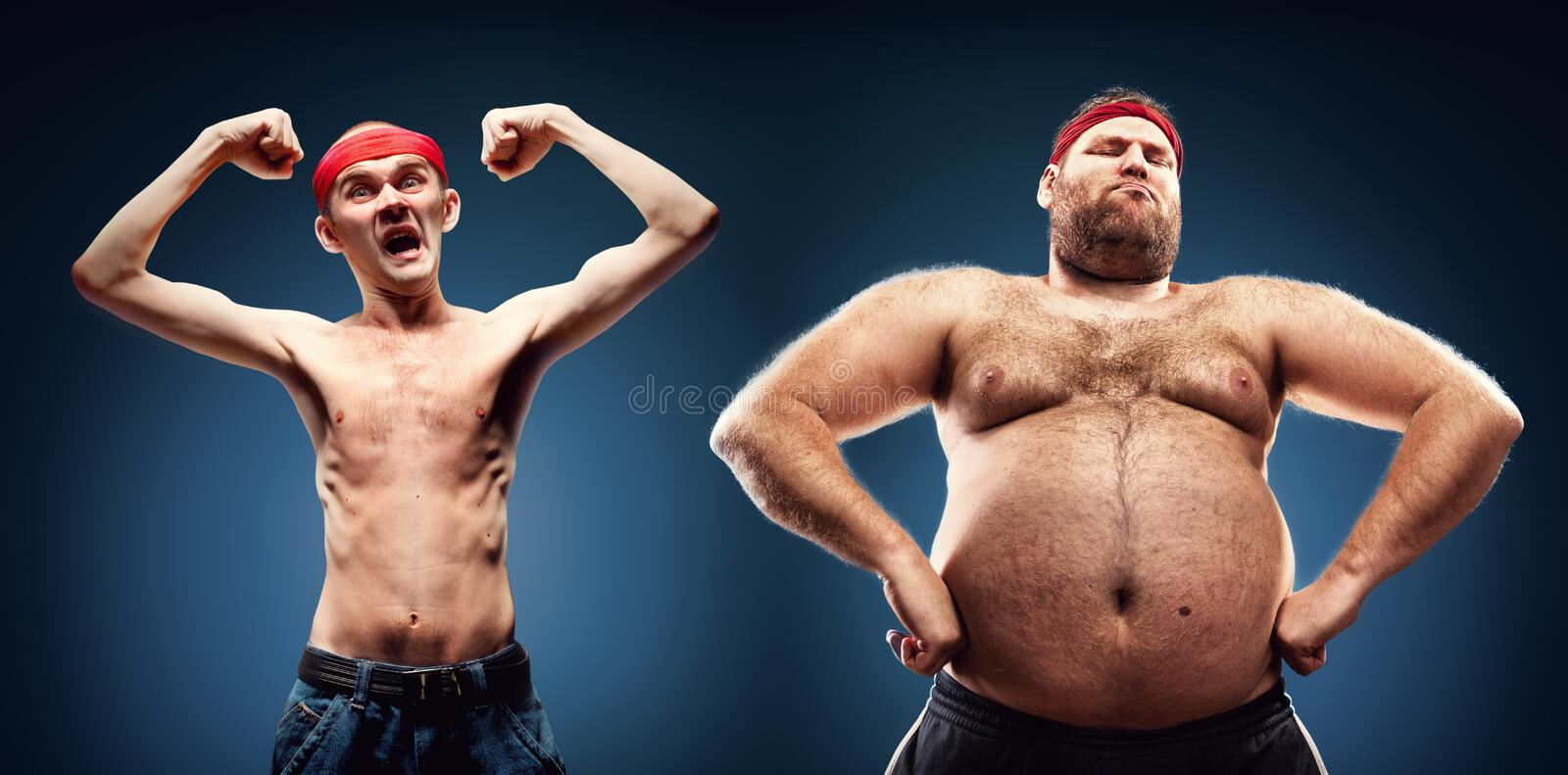 Funny body builders. Funny team of fat and thin geeks show their muscles royalty free stock images