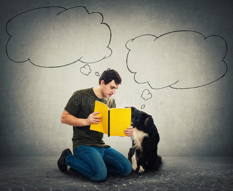 Funny border collie dog and his master reading together an interesting book stock photos