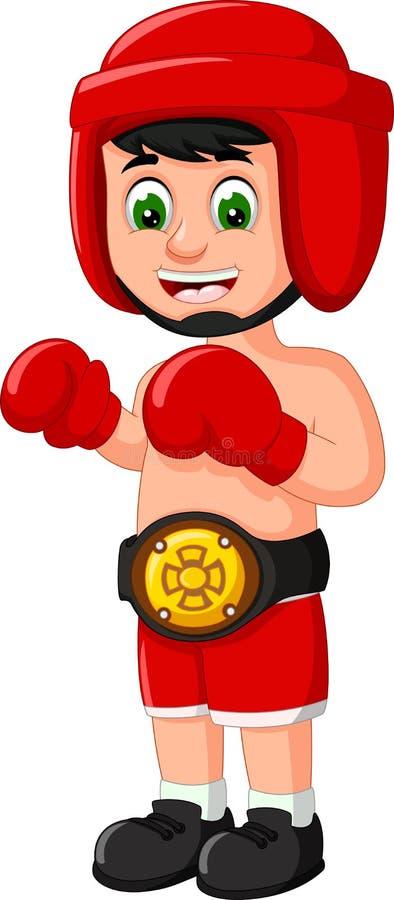Funny Boxer Boy Cartoon stock illustration