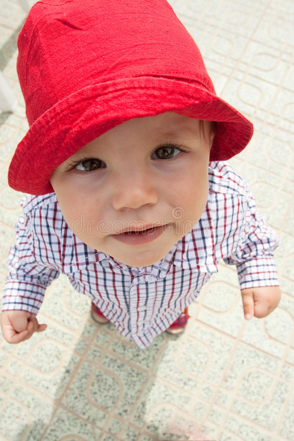 Funny boy. Outdoor portrait of funny boy (Wide-angle lens stock photography