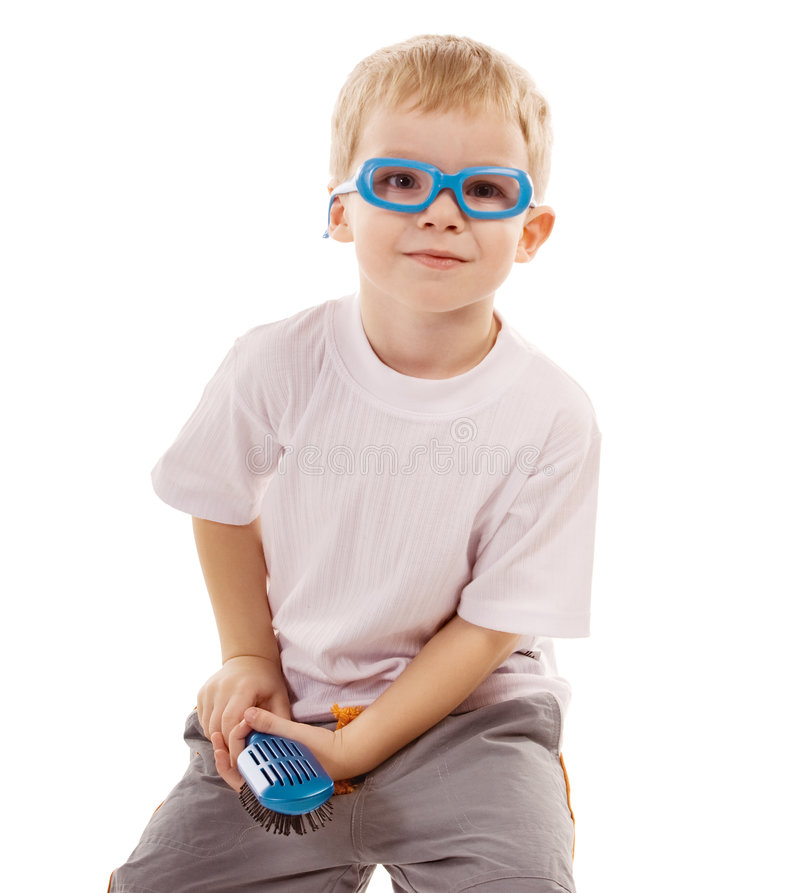 Funny boy. Funny little boy in toy glasses stock photo
