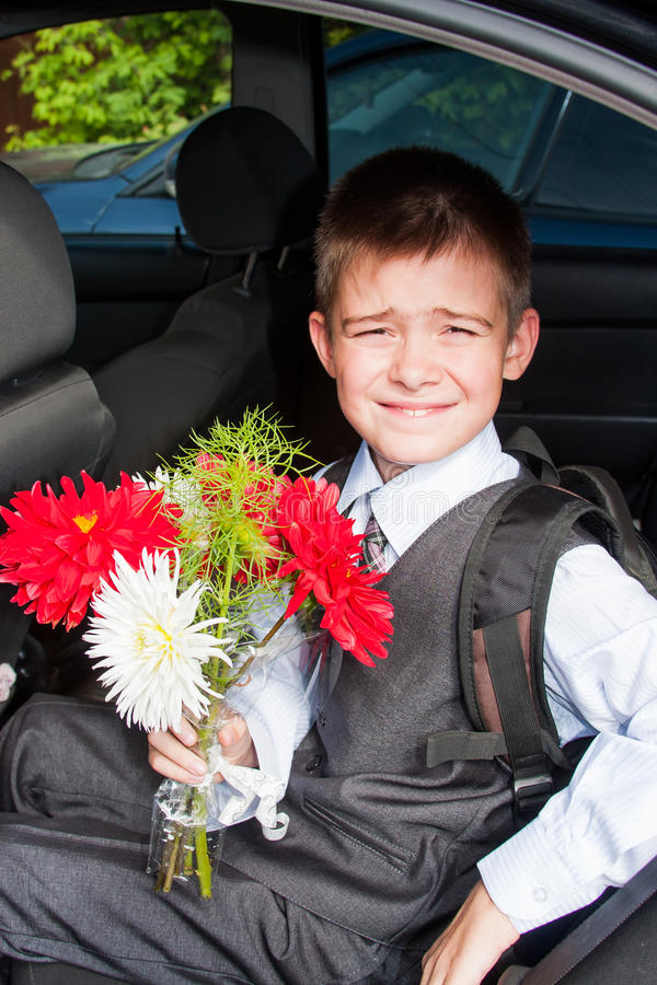 Funny Boy With A Bouquet Of Flowers Stock Image - Image of costume ...