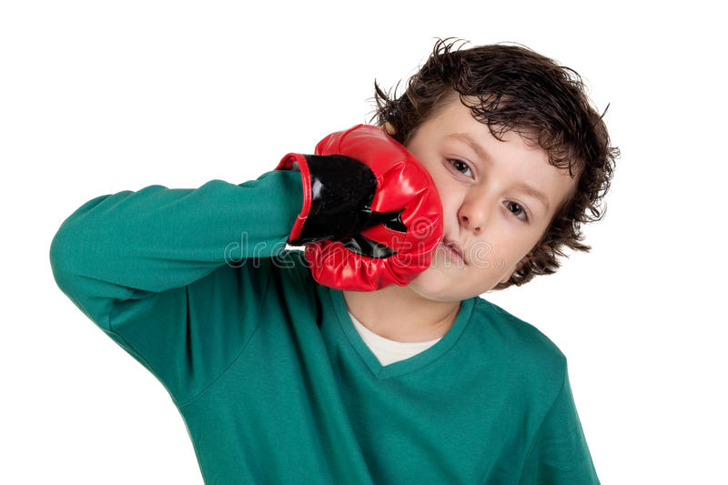 Download Funny Boy With Boxing Gloves Stock Image - Image: 11321169