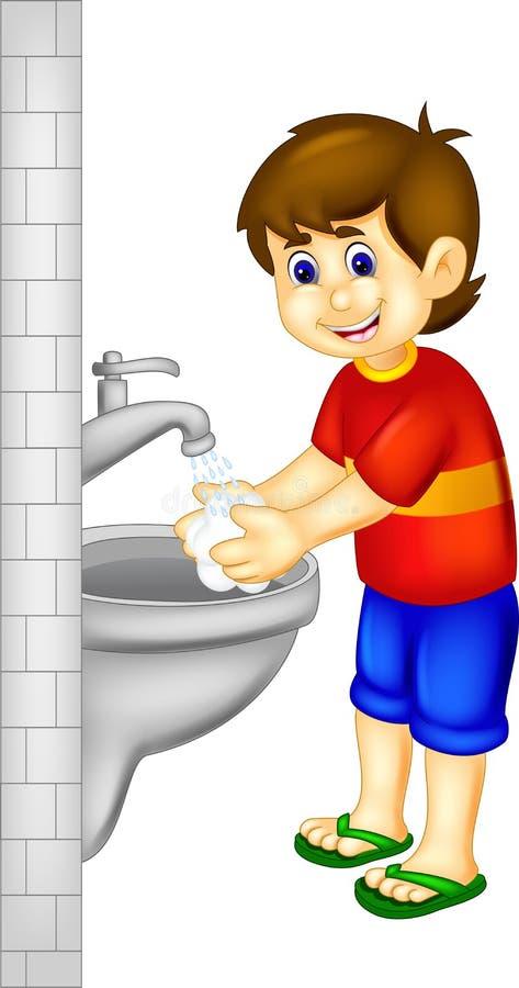 Funny boy cartoon washing hand with smile. Vector illustration of funny boy cartoon washing hand with smile stock illustration