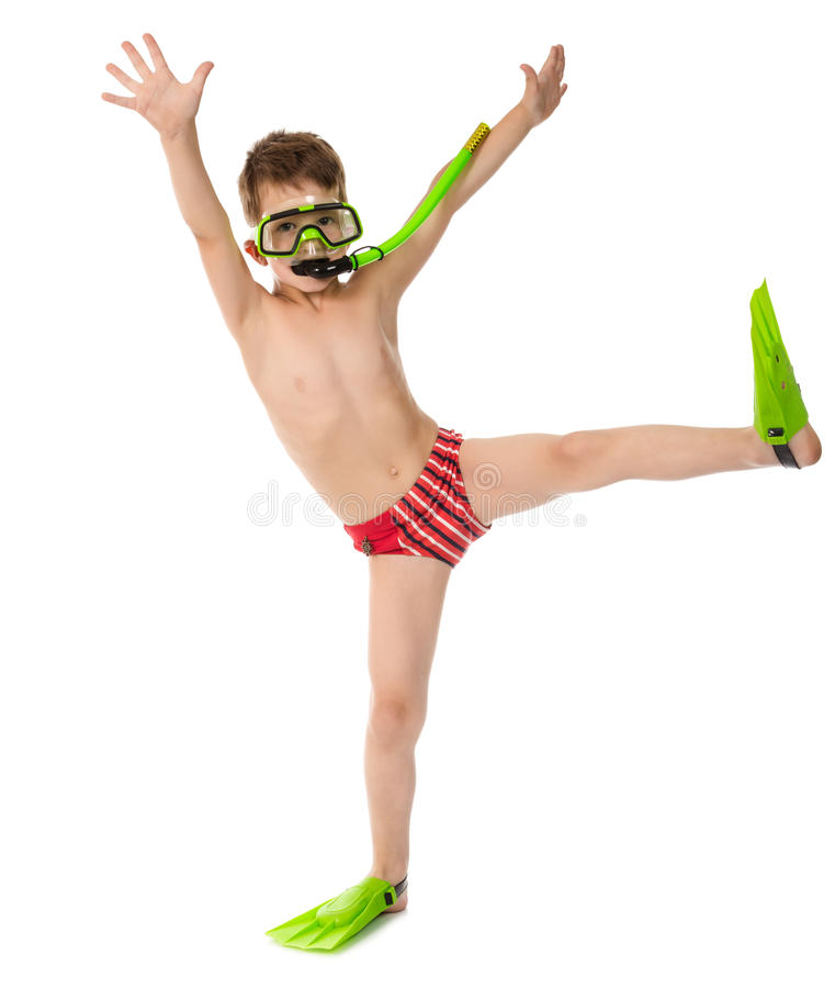 Funny boy in diving mask and flippers. Isolated on white stock images