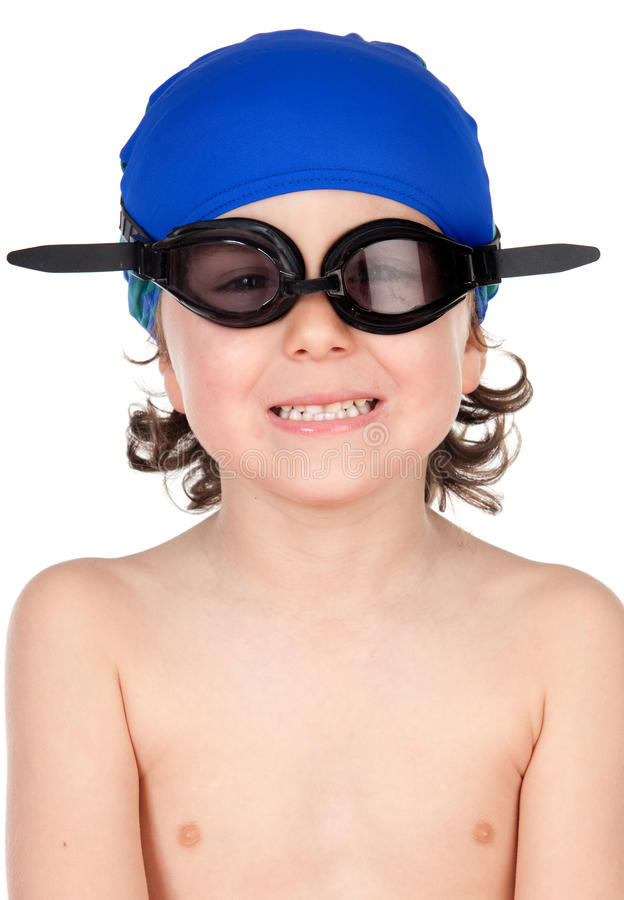 Funny boy with glasses and hat swimmer. Ready to learn to swim isolated on blano stock image
