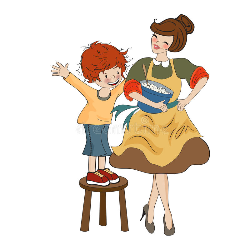 Funny boy and his mother isolated on white backdround. Vector illustration stock illustration