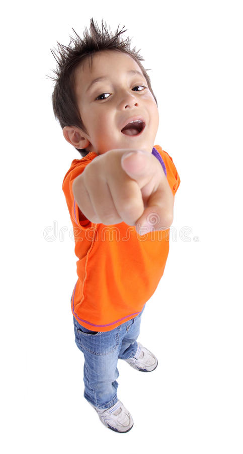 Funny boy pointing. At camera isolated on white background royalty free stock photography
