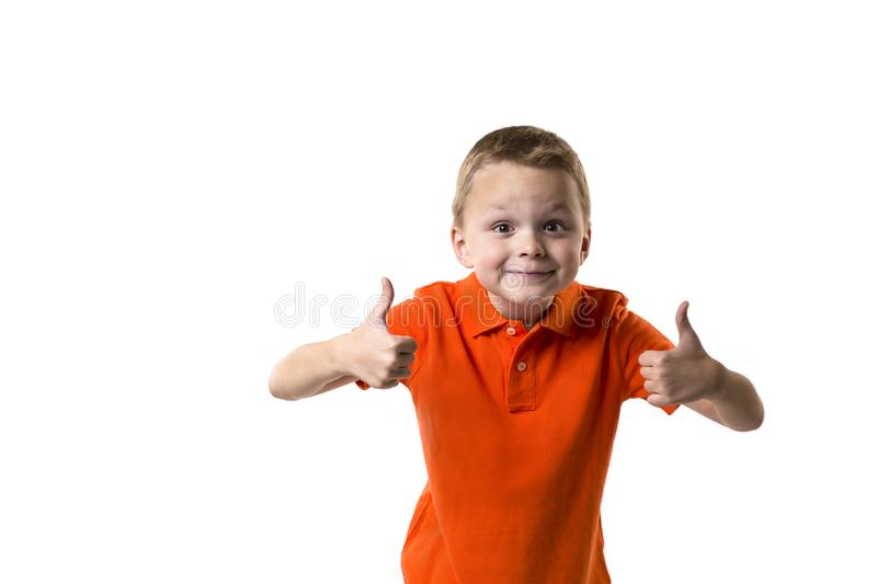 Funny boy shows emotions. On a white background royalty free stock photography