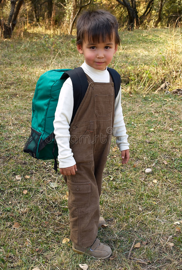 Funny boy stands with backpack. Little funny boy stands with backpack just come back from school stock photos