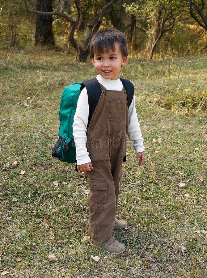 Download Funny Boy Stands With Backpack Stock Image - Image: 6627729