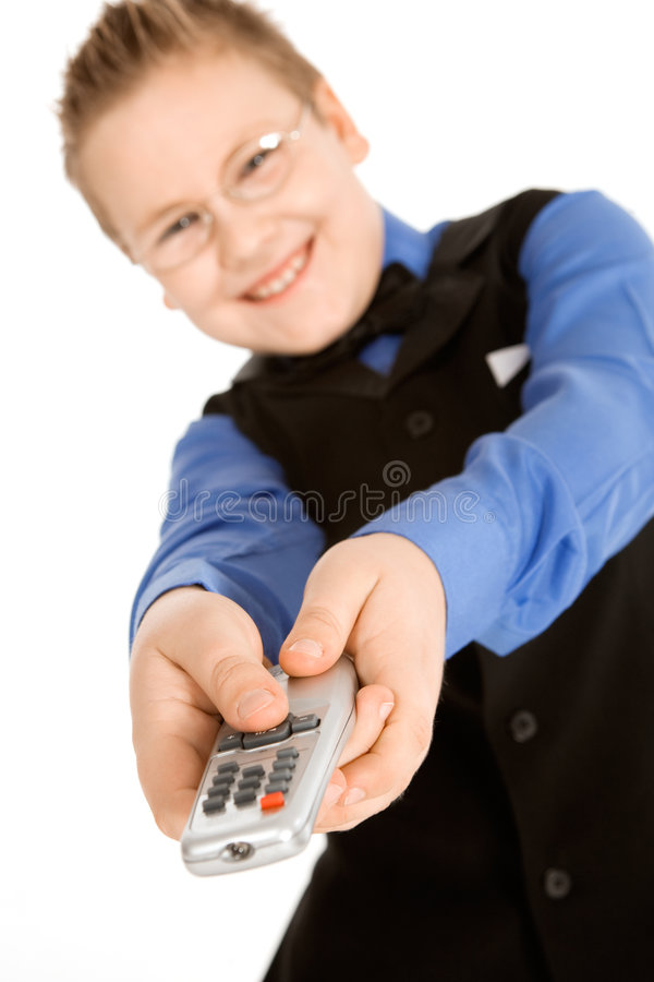Download Funny Boy With Tv Remote Control Stock Photo - Image: 8492320