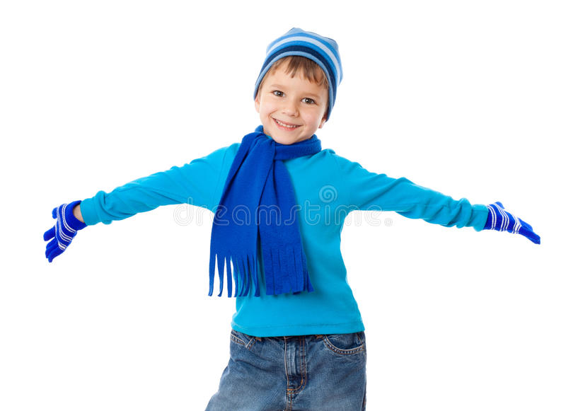 Funny boy in winter clothes stock photography