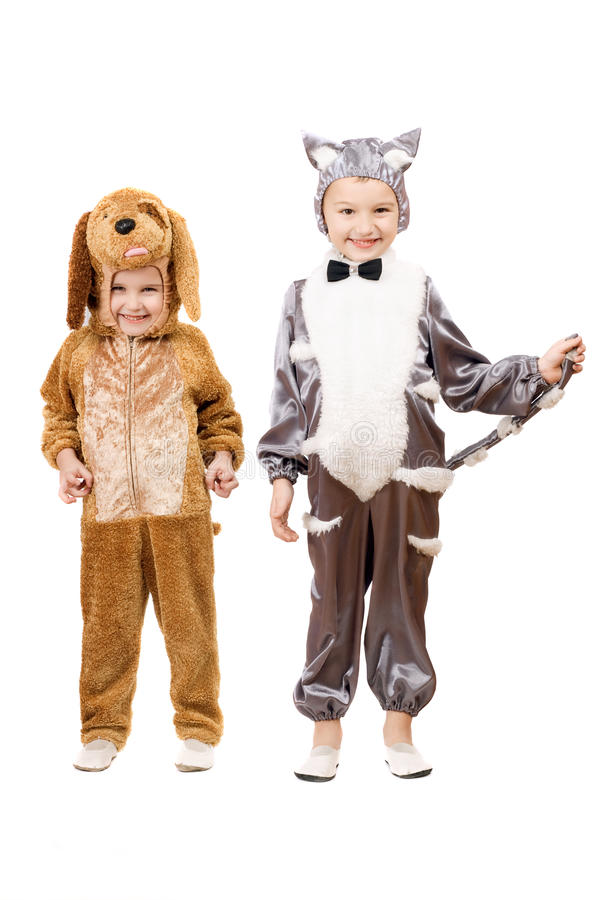 Funny Boys Dressed As A Cat And Dog Royalty Free Stock Images