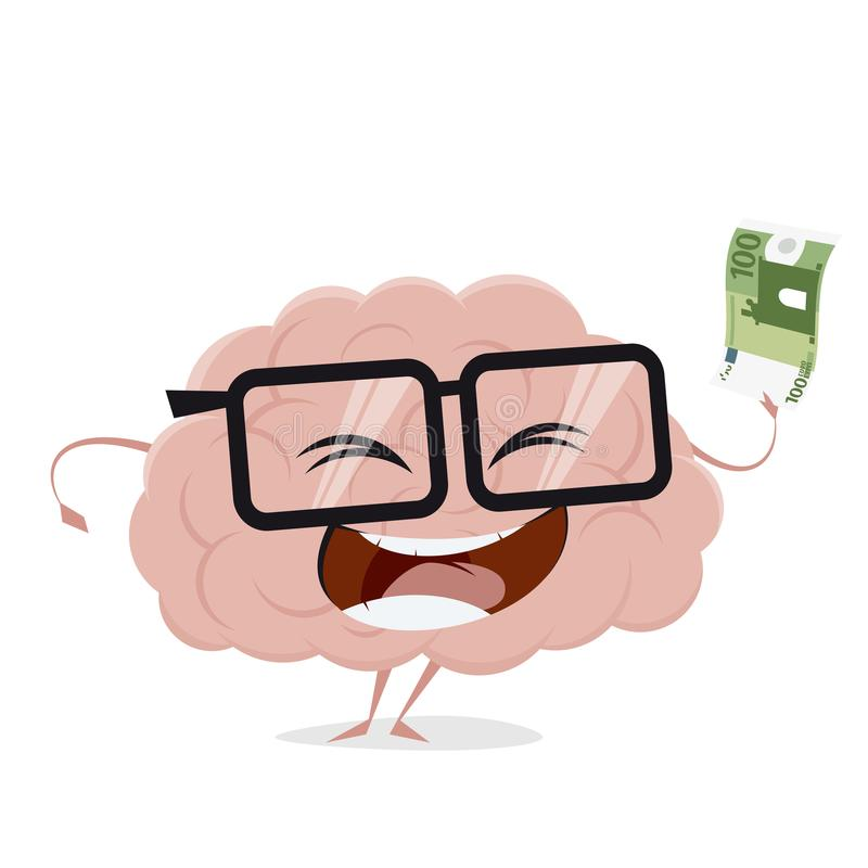 Funny brain with bank note stock illustration