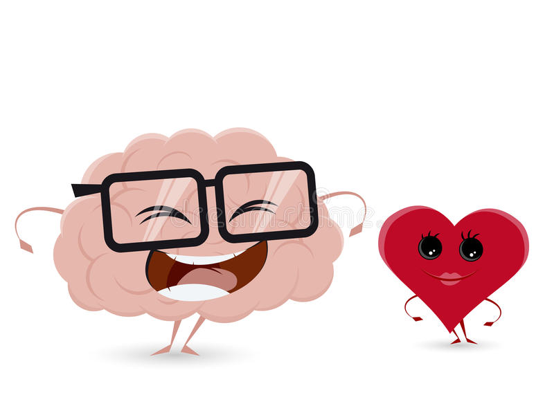 Funny brain and heart stock illustration