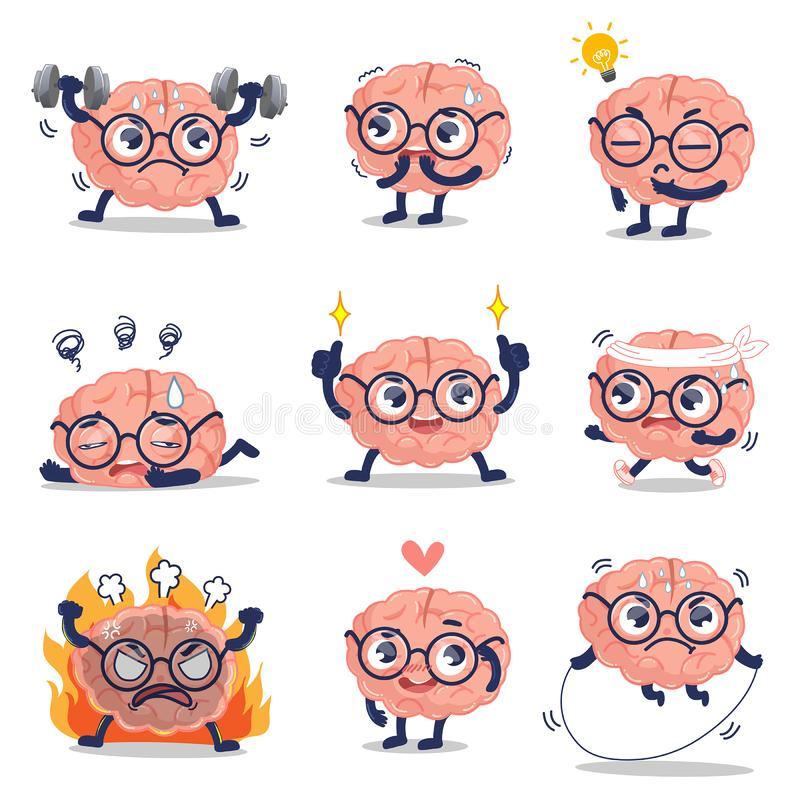Funny brain cute training and many action stock illustration
