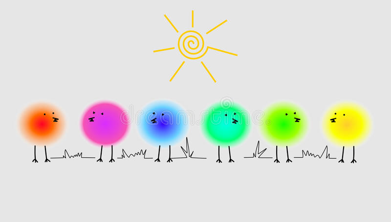 Funny bright birds royalty free illustration