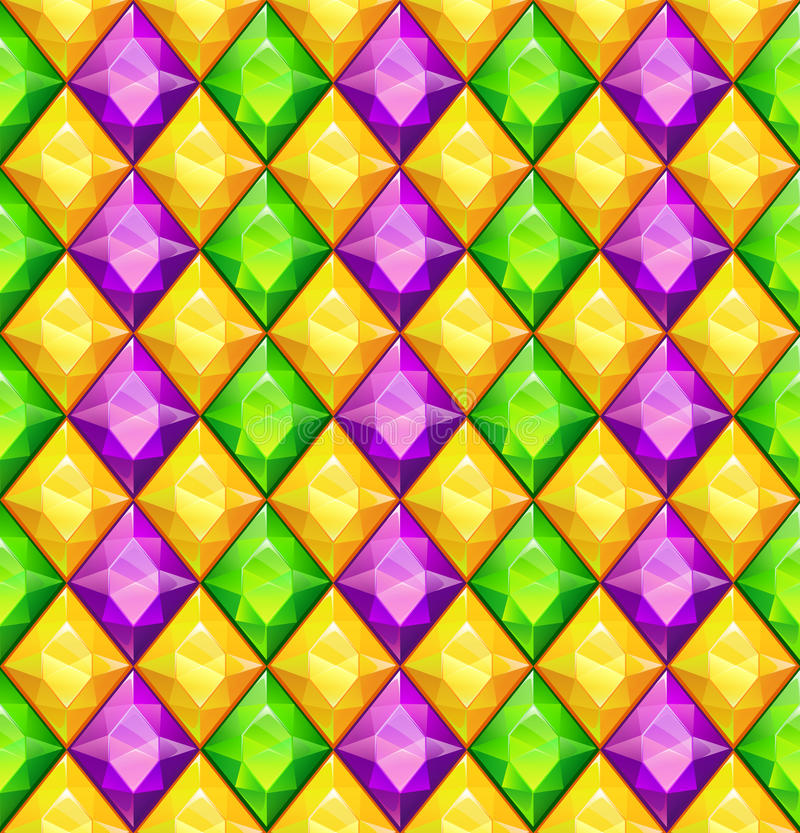 Funny bright colorful texture. With green, purple and yellow diamonds, vector seamless pattern for Mardi Gras items design stock illustration