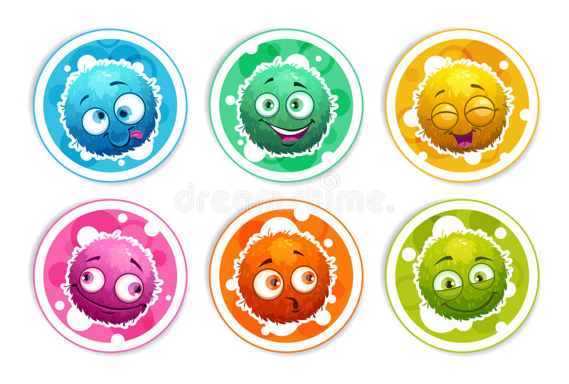 Funny bright round stickers with cartoon fluffy monsters. Vector icons set, isolated on white background stock illustration