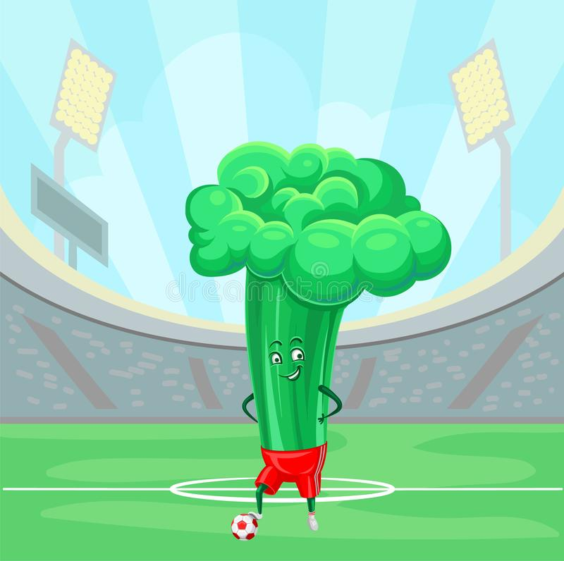 Funny broccoli cabbage soccer on the sport field vector vector illustration