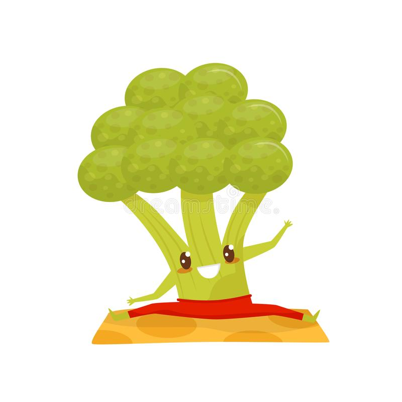 Funny broccoli doing yoga exercise on a mat, sportive vegetable cartoon character vector Illustration on a white. Funny broccoli doing yoga exercise on a mat vector illustration