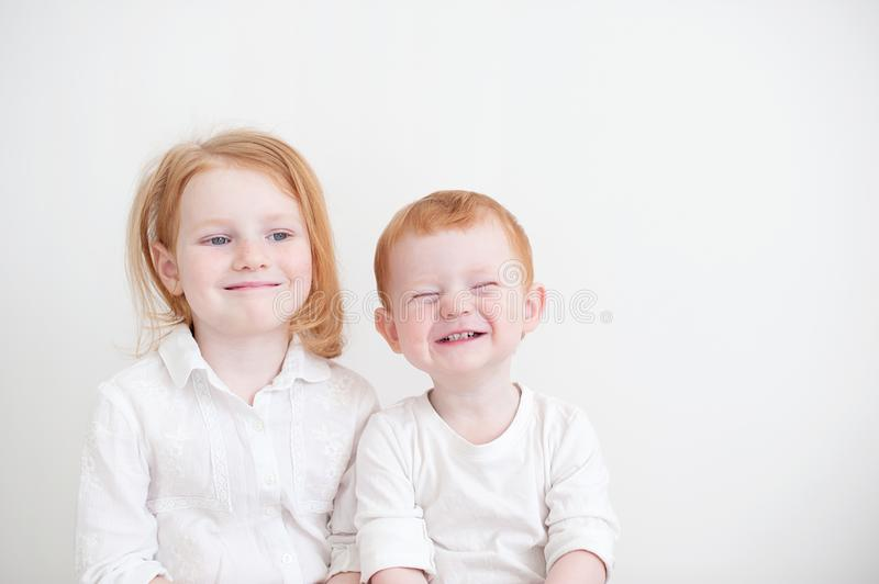 Funny brother and sister stock photos