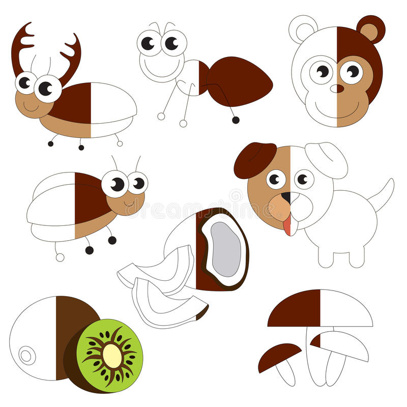 Funny Brown Color Objects, The Big Kid Game To Be Colored By Example ...