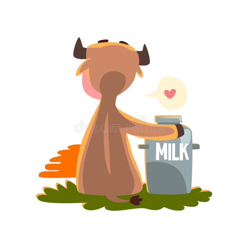 Funny brown cow sitting at sunset with a can of milk, farm animal cartoon character, design element can be used for royalty free illustration