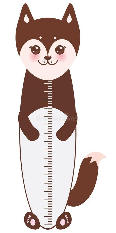 Funny brown husky dog on white background Children height meter wall sticker, kids measure. Vector. Illustration stock illustration