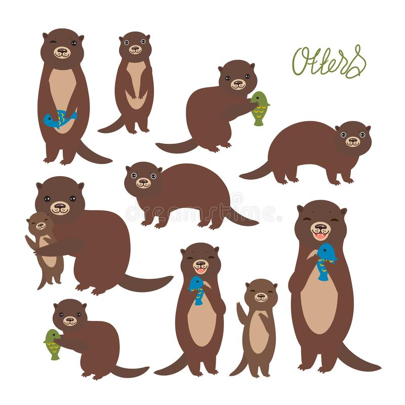 Funny brown otter collection on white background. Kawaii. Vector illustration.  vector illustration